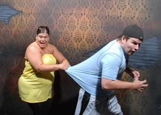 "Haunted house with hidden camera. I did not stop laughing through this entire thing, so worth click on the link and looking at all the pics. Also I didn't realize the proper way to go through a haunted house was ""conga line"" styles, lol"