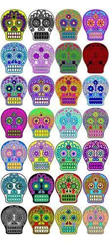 Day of The Dead Halloween 28 Sugar Skull Stickers Scrapbooking Crafts Set 4 | eBay