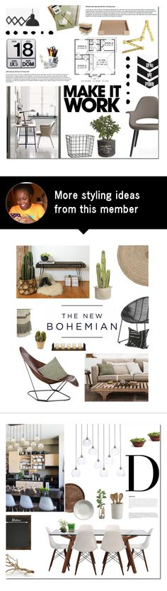 """Make it WORK"" by fyenksfiona on Polyvore featuring interior, interiors, interior design, home, home decor, interior decorating, Crate and Barrel, Danese, Vitra and H&M"