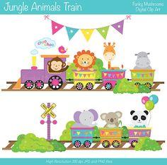 Digital Clipart  Jungle Animals Train for by funkymushrooms, €3.20