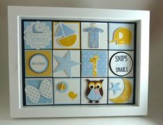 boy frame by I stamped that! Box Frame Art, Box Frames, Canvas Frame, Collage Frames, Collages, Baby Collage, Owl Punch, Baby Scrapbook, Scrapbook Stickers