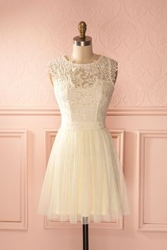 Cokkie Cream - Beige lace and tulle dress Classy Short Dresses, Vintage Style Dresses, Lovely Dresses, Classy Dress, Cheap Dresses, Vetements Clothing, Homecoming Dresses, Bridesmaid Dresses, Cute Dresses For Party