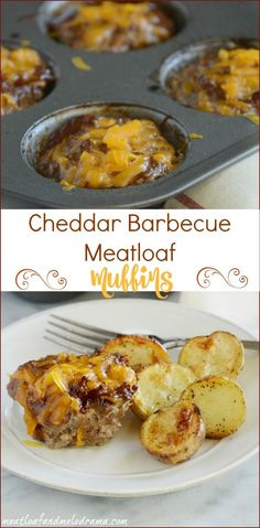 Easy recipe for cheddar barbecue meatloaf muffins. These individual mini meatloaves are made in a muffin tin for a quick and easy dinner. Also, no bread crumbs, so they're basically gluten free!