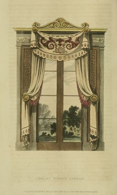 EKDuncan - My Fanciful Muse: Regency Furniture 1809 Ackermann's Repository Series 1 Regency Furniture, Furniture Dolly, Vintage Furniture, Luxury Furniture, Curtains Uk, Small Curtains, Drapery, Regency House, Regency Era
