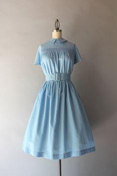 Vintage 50s Dress / 1950s Smocked Sky Blue Dress / by HolliePoint