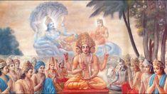 Brahma meditates on Vishnu, oil painting, vedic art, by Dominique Amendola Krishna Painting, Krishna Art, Hare Krishna, Krishna Lila, Krishna Mantra, Ganesha Art, Krishna Quotes, Reiki, Stage Yoga