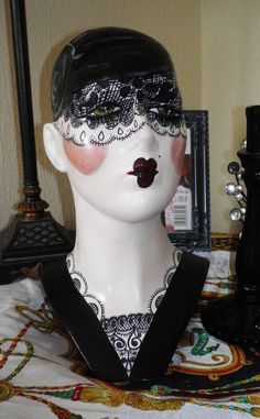 Original Handpainted pin up gothic flapper art deco lace inspired Mannequin doll display fashion head.