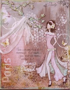 Mixed media canvas made by Gabrielle Pollacco using Websters Pages 'In Love' collection (click on photo for a template of the paper figure to download and an instructional video!)