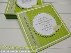 Ich hab noch eine Einladungsvariante zur Kommunion .... wieder in grün gehalten - aber grün passt einfach für dieses Fest und sowohl für Ju...