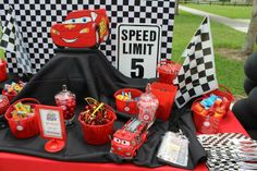 Treats at a Cars Party.  See more at CatchMyParty.com.  #cars #partyideas