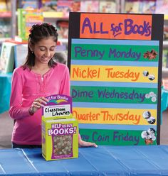 All for Books is a great way to get more books in the hands of kids who need them. Draw attention to your donation box with colorful signs and challenges. How much can your school raise?    Check out your Book Fair Chairperson Toolkit for more tips and tricks.