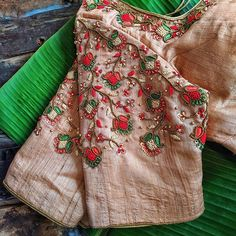 Basic floral in Frenchknot and zari stitched Pattu Saree Blouse Designs, Fancy Blouse Designs, Bridal Blouse Designs, Blouse Neck Designs, Blouse Patterns, Maggam Work Designs, Diana, Embroidery Blouses, Aari Embroidery