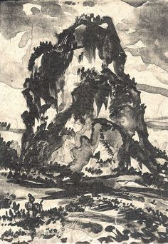 Wu Shu Mountain 2 Color Lithograph on heavily textured paper.