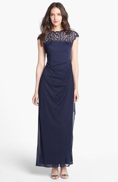 Alex Evenings Lace Yoke Faux Wrap Mesh Gown available at #Nordstrom