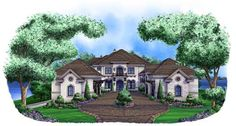"""Tuscan Style House Plan Plan 55-240 details Bedrooms: 6 Full Baths: 7 Half Baths: 1 Levels/Stories: 2 Garage Stalls: 5 Total Sq. Ft.: 11672 Main floor: 4569 Upper floor: 2426 Lower Floor: 4489 Garage: 1785 Porches: 2182 Width: 92' 2"""" Depth: 140' 2"""" Height: 44' 7"""" Roof Pitch (primary): 10:12 Walls: Concrete block Ceiling Height (Main): 11' Ceiling Height (Upper): 10'"""