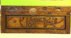 Vintage Asian Hand Carved Wooden Trunk/Chest Emperors Palace Scene Collectible