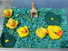 duck sensory bin - I like the different shaped pasta mix in this one