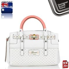 216af384750a NEW GUESS RIZA MEDIUM SATCHEL WHITE STUDDED LADIES BAG HANDBAG-FREE EXPRESS