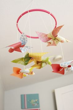 Large Butterfly Mobile Paper Art Hanging 3d Nursery