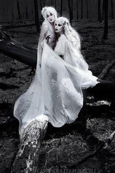goth makeup + white fairy dresses