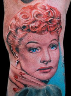 I love Lucy by Cecil Porter - Done with Fusion Ink, The Dragonfly Tattoo Machine and needles from The Glove for the Artist. Fusion Ink, Dragonfly Tattoo, Lucille Ball, I Love Lucy, Tattoo Machine, Vintage Girls, I Tattoo, Girl Photos, Body Art