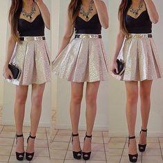 Sparkle skirt + black top.