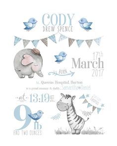 Safari Birth Announcement Wall Art / Safari Nursery Birth Print This beautiful, personalised typogra