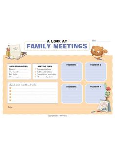 A checklist for family meetings, and to keep track of decisions you agree on together.