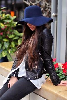 navy hat + black biker jacket