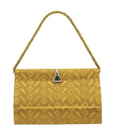 A GOLD, EMERALD AND DIAMOND EVENING BAG