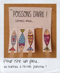 """In France, the tradition on April is to tape pictures of fish to people's backs without them noticing. When they finally discover it, you shout """"Poisson d'avril!"""" (Fish of April). What's your favorite April Fool's Day tradition? April Fools Pranks, April Fools Day, Diy For Kids, Crafts For Kids, Fishing Pictures, Little Fish, April 1st, Friend Birthday Gifts, School"""