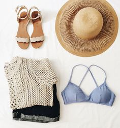 woven hat, summer sweater, scalloped sandals