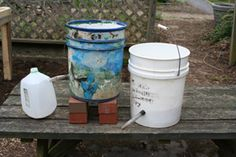 Self watering bucket from 5-gallon containers. On a side note - see the DIY project to cover the ugly 5 gallon container with burlap and tie with rope. Super cute!