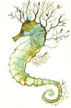 seahorse (as water)for opposite my phoenix tattoo Seahorse Painting, Seahorse Art, Seahorses, Dragon Seahorse, Art And Illustration, Illustrations, Sea Life Art, Sea Art, Ocean Life