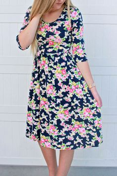 Easy Breezy Day to Night Dress: Navy Floral