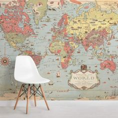 Vintage Bedroom kids-vintage-world-map-room - Kids Vintage Map Wallpaper is authentic in style and color, an illustrated design that is perfect for a child's bedroom to create an interesting feature wall. World Map Mural, Kids World Map, World Map Wallpaper, Kids Wallpaper, Wall Wallpaper, Wallpaper Designs, Bedroom Wallpaper, Retro Wallpaper, Modern Wallpaper