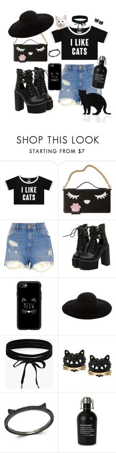 """I like cats"" by traceyenorton ❤ liked on Polyvore featuring River Island, WithChic, Casetify, Eugenia Kim, Boohoo, Betsey Johnson, Kate Spade and 157+173 designers"