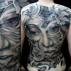 Amazing black and grey back piece... found on Pinterest