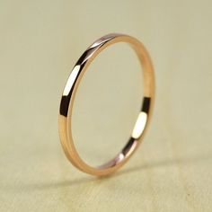 Rose Gold Wedding Band, Skinny Stacking Ring 1.5mm by 1mm Squared Edge, Recycled Eco Friendly, 14K Gold, sizes 3-6, Sea Babe Jewelry