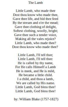 The Lamb by: William Blake (1757-1827)  http://annabelchaffer.com/