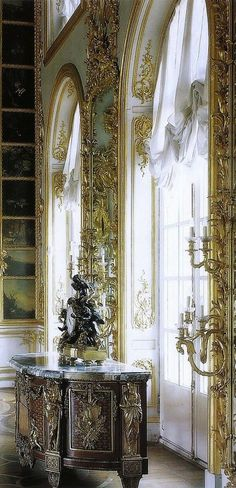 The Catherine Palace ~ A Rococo palace located in the town of Tsarskoye Selo, 25 km south of St. Petersburg, Russia.