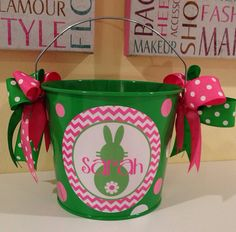 Easter Bucket Personalized 5 quart on Etsy, $24.00