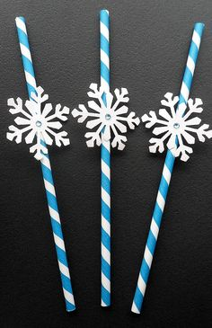 FREE SHIPPING 24 Blue and White Frozen Party Paper by LuvBlingnArt
