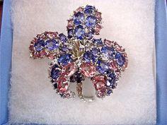 Vintage NOLAN MILLER Purple Amethyst & Rose Pink Swarovski Crystal Orchid Flower Brooch Pin ~ Silver Rhodium Plated Mounting