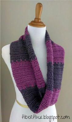 Free Crochet Pattern...Violet Tones Infinity Scarf | Fiber Flux...Adventures in Stitching | Bloglovin'