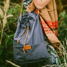 Grey cotton bucket bag BEETLE / by MOOSEdesignBAGS