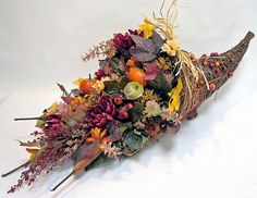 FALL Décor Silk Flower Arrangement In Cornucopia by EverythingFloral