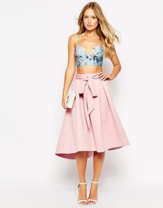 ASOS Premium Bonded Prom Skirt - Midi skirt by ASOS Collection, Lightweight scuba-style fabric, Unlined design, Belted waistband, Zip back closure, Regular fit - true to size, Machine wash