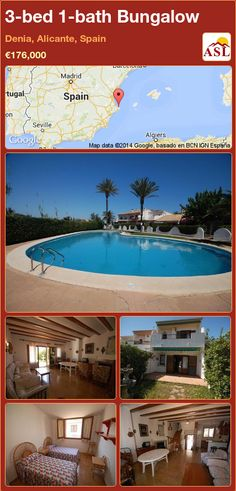 Bungalow for Sale in Denia, Alicante (Costa Blanca), Spain with 3 bedrooms, 1 bathroom - A Spanish Life Guest Toilet, Bungalows For Sale, Wooden Windows, Open Plan Kitchen, Apartments For Sale, Ground Floor, Alicante Spain, Google, Terrace