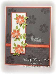 Basic Gray, Tangerine Tango, and Whisper White cardstock, Tangerine Tango, Lucky Limeade, and VersaMark ink,